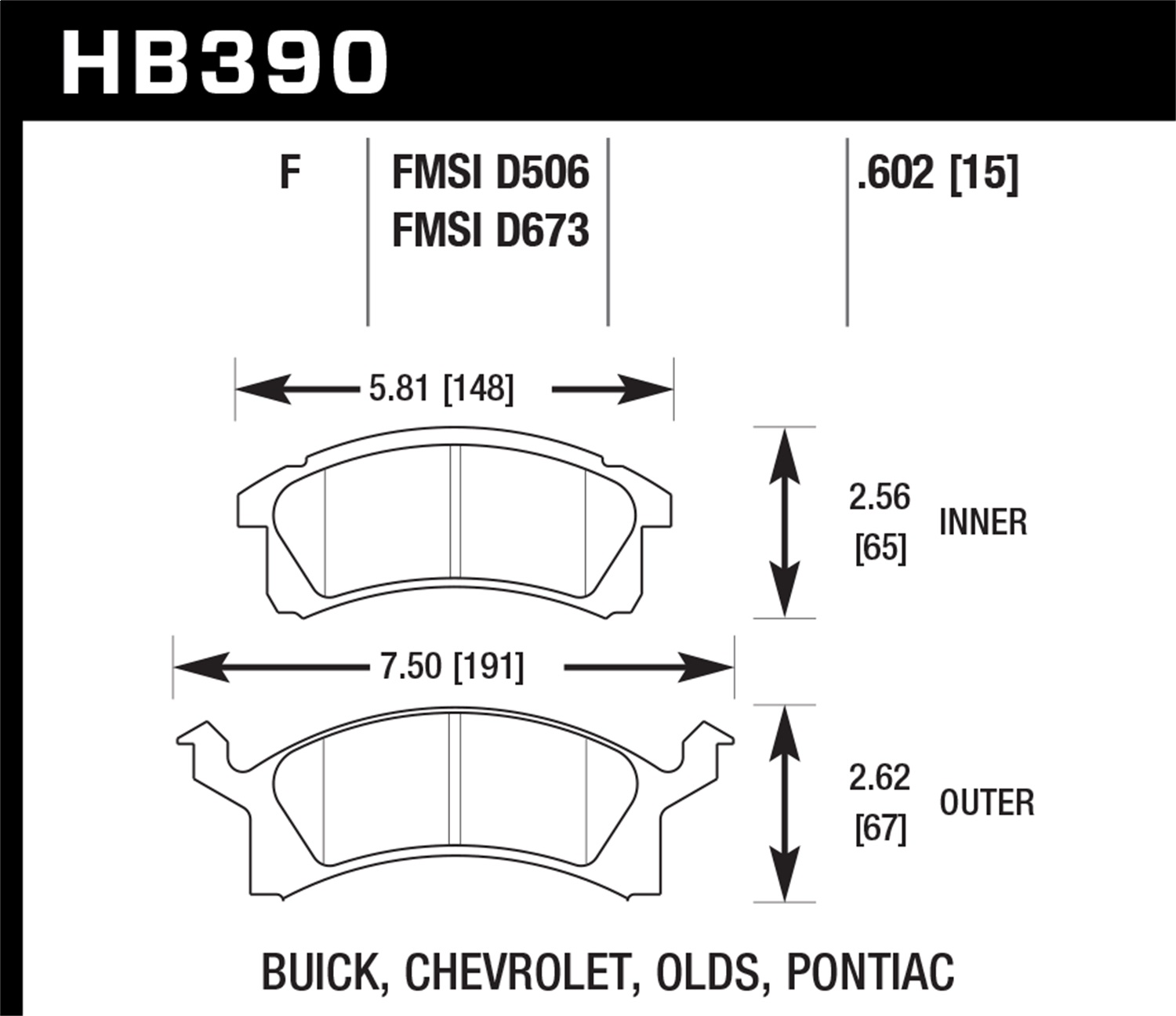 Hawk HB40F.40 HPS High Performance Street Brake Pads Front Set ...