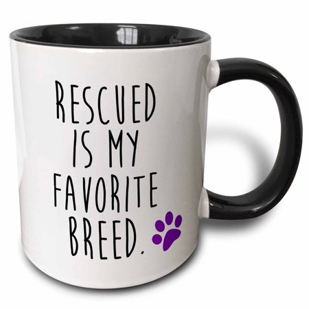 3dRose Rescued is my favorite breed. Funny cat or dog quote. - Two Tone Black Mug, - Two Funny Dogs