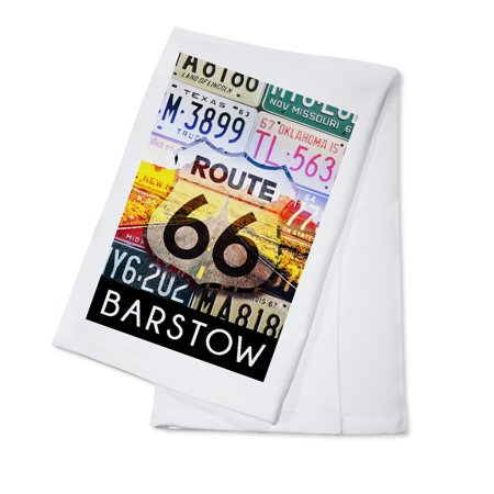 Cotton Plate (Barstow, California - Route 66 License Plates - Lantern Press Artwork (100% Cotton Kitchen Towel) )