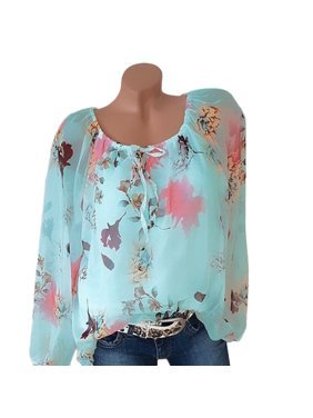 6d3ac4ff Product Image Womens Plus Size T-shirt Summer Chiffon Floral Printed Casual  Off Shoulder O-neck