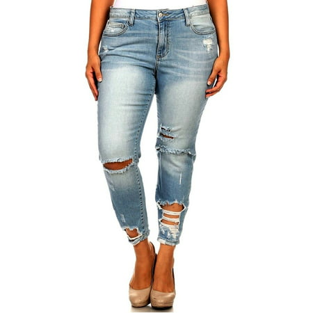 Distressed Denim Jeans Pants - DO66 WOMENS PLUS SIZE Sexy Boyfriend Denim Jeans Ripped Distressed strech pants