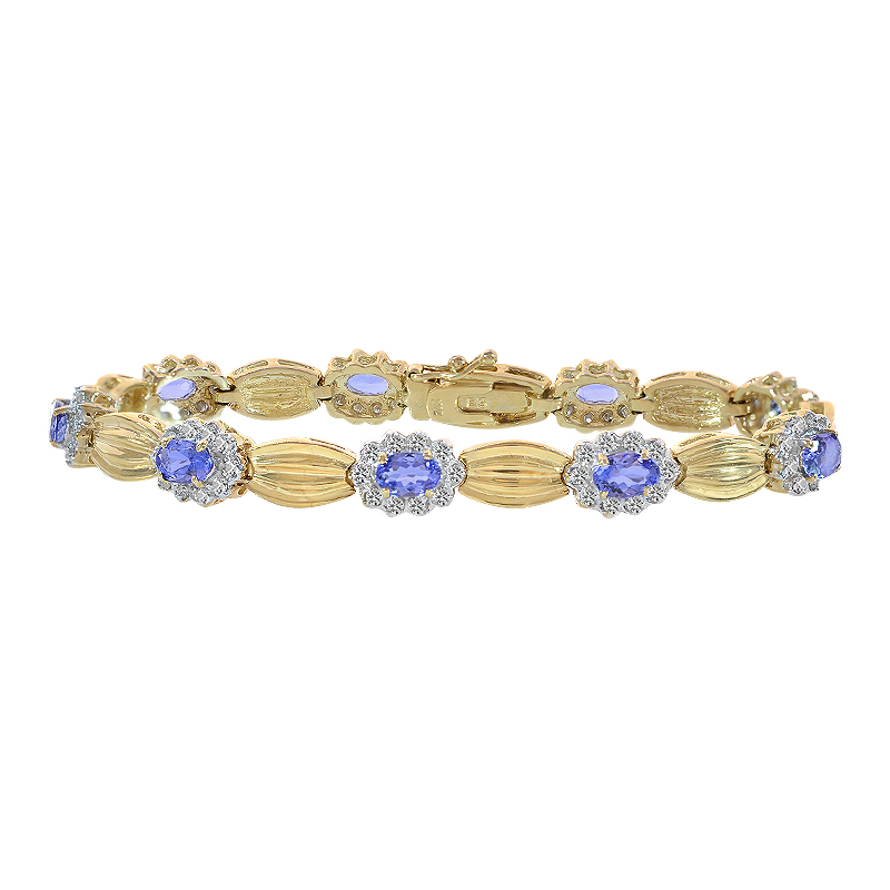 0.75 Carat Diamond and 4.50 Carat Tanzanite 14K Yellow Gold Fancy Link Bracelet by