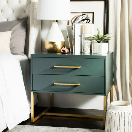 Bedroom Teak Nightstand - Safavieh Estelle 2-Drawer Contemporary Glam Nightstand