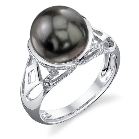 10mm Tahitian South Sea Cultured Pearl & Diamond Abby Ring in 14K Gold Diamonds 10mm Tahitian Pearl Ring