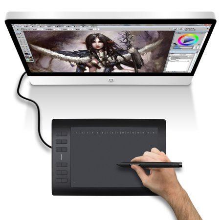 Zimtown Huion Graphics Drawing Tablet - Digital LCD Display Tablet Touch Pad, with Rechargeable Pen 10
