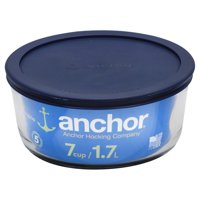 Anchor Hocking Glass 1.7-Liter Clear Round 7-Cup Kitchen Storage Bowl with Lid