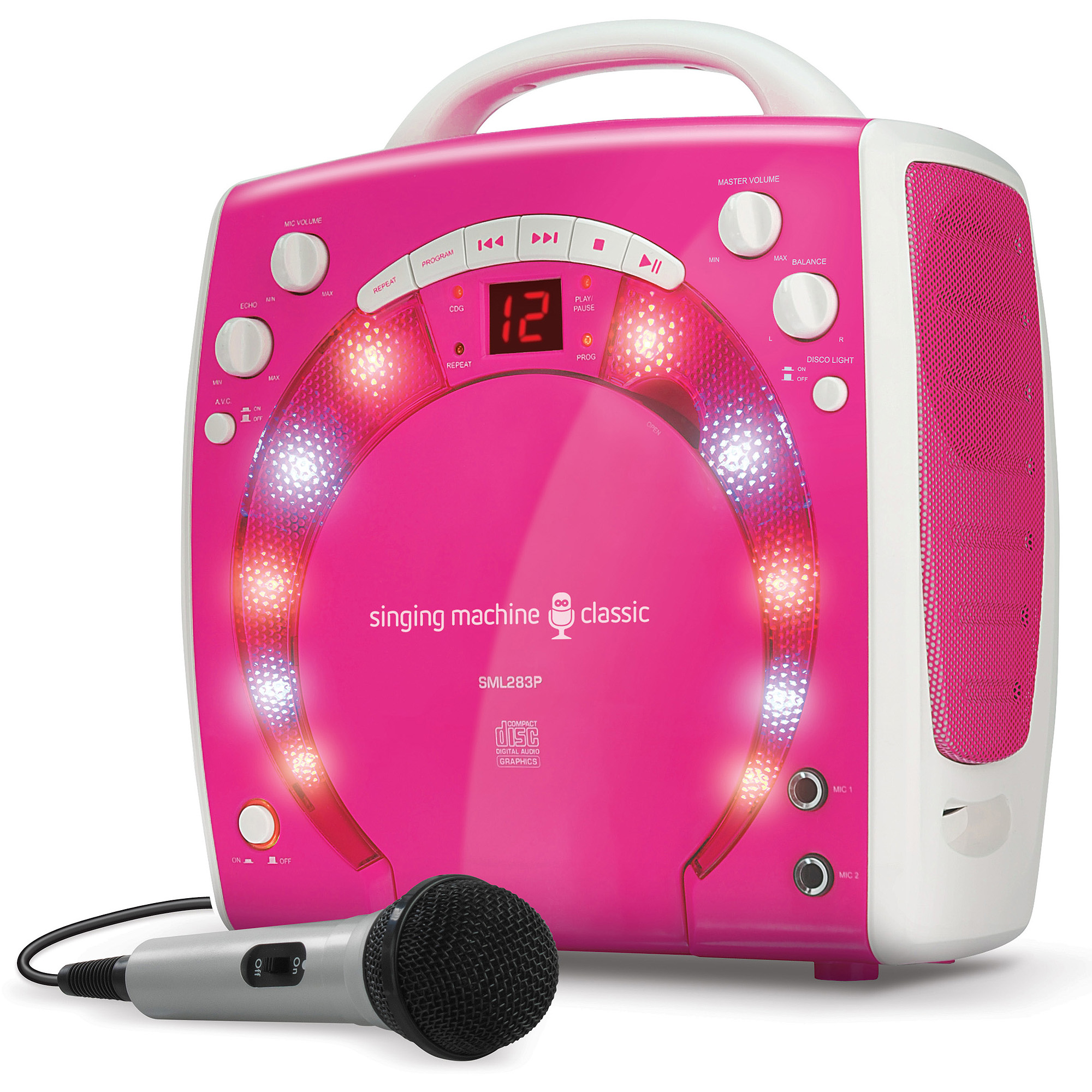 The Singing Machine SML283P Mini Karaoke Lightshow with Microphone, Pink