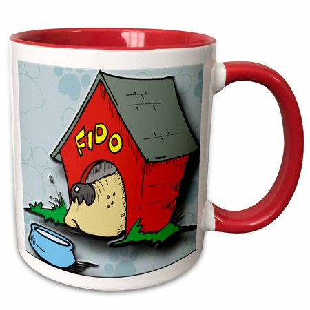 3dRose Fido dog house and bowl with paw print background - Two Tone Red Mug, (Fido House)