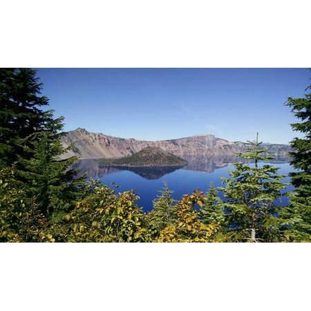 Wizard Island - LAMINATED POSTER Wizard Island Crater Lake National Park Blue Oregon Poster Print 24 x 36