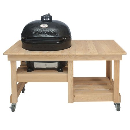 Primo Oval XL 400 Ceramic Smoker Grill On Cypress Counter Top Table Primo Cypress Wood Table