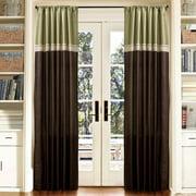 """Terra Green/Chocolate Window Curtains, Pair, 54"""" x 84"""""""