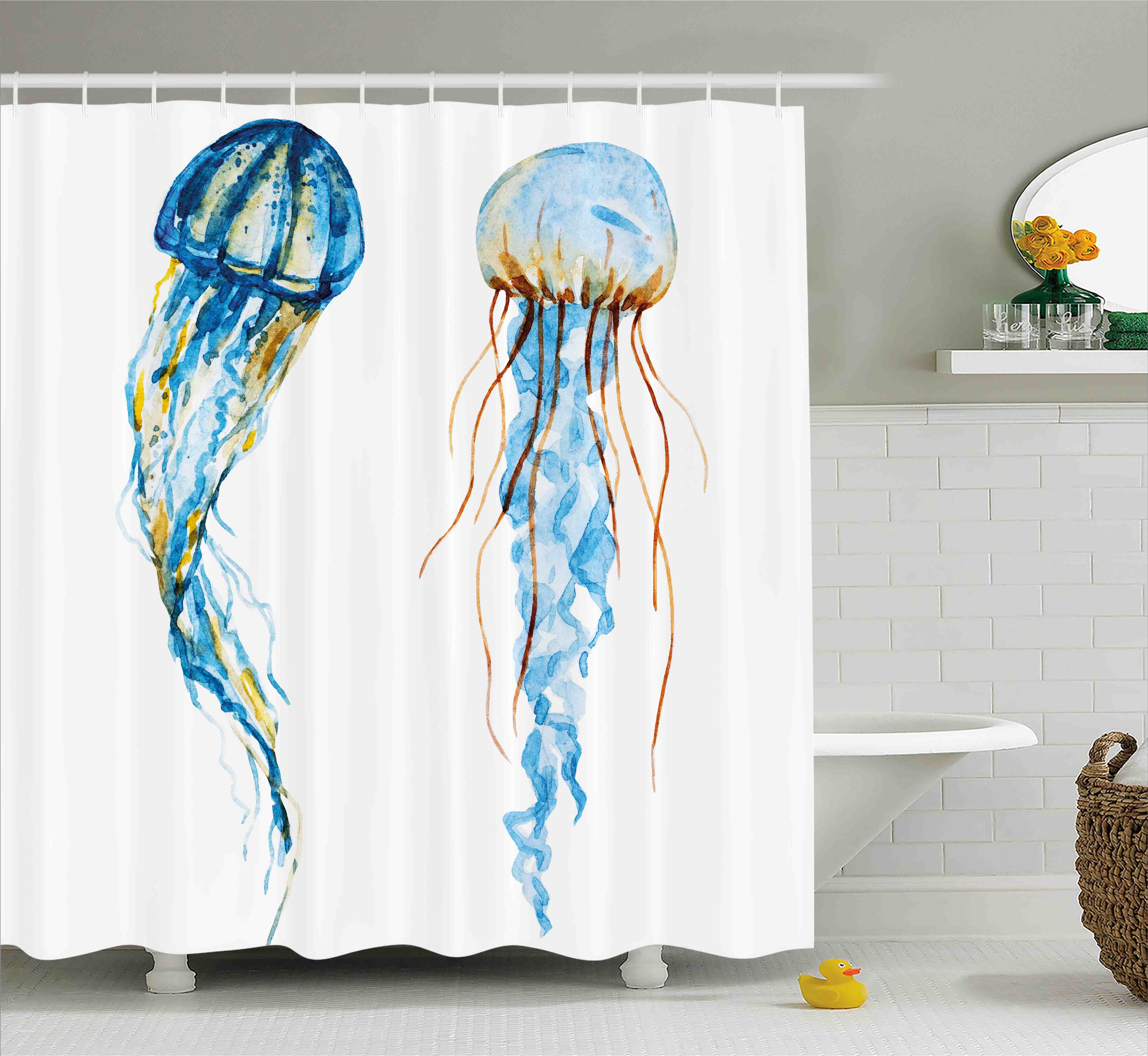 Nautical Decor Shower Curtain, Cute Jellyfish Exotic Sea Ocean Creature Aquatic Animals Watercolor Raster Graphic, Fabric Bathroom Set with Hooks, 69W X 75L Inches Long, Blue, by Ambesonne