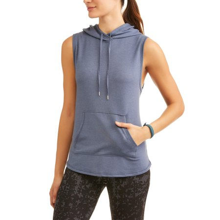 Athletic Works Womens Active French Terry Vest With Hoodie