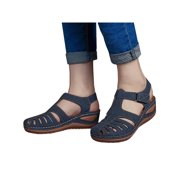 Women's Summer Ankle Strap Wedge Casual Round Toe Shoes Hollow Velcro Sandals