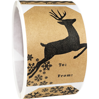 Brown Kraft Christmas Gift Tags Holiday Present Stickers, 4 Different Designs, 2 x 3 Inches Wide, 100 Labels on a Roll