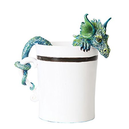 4 Inch Good Morning Dragon in White Coffee Cup Statue Figurine ()