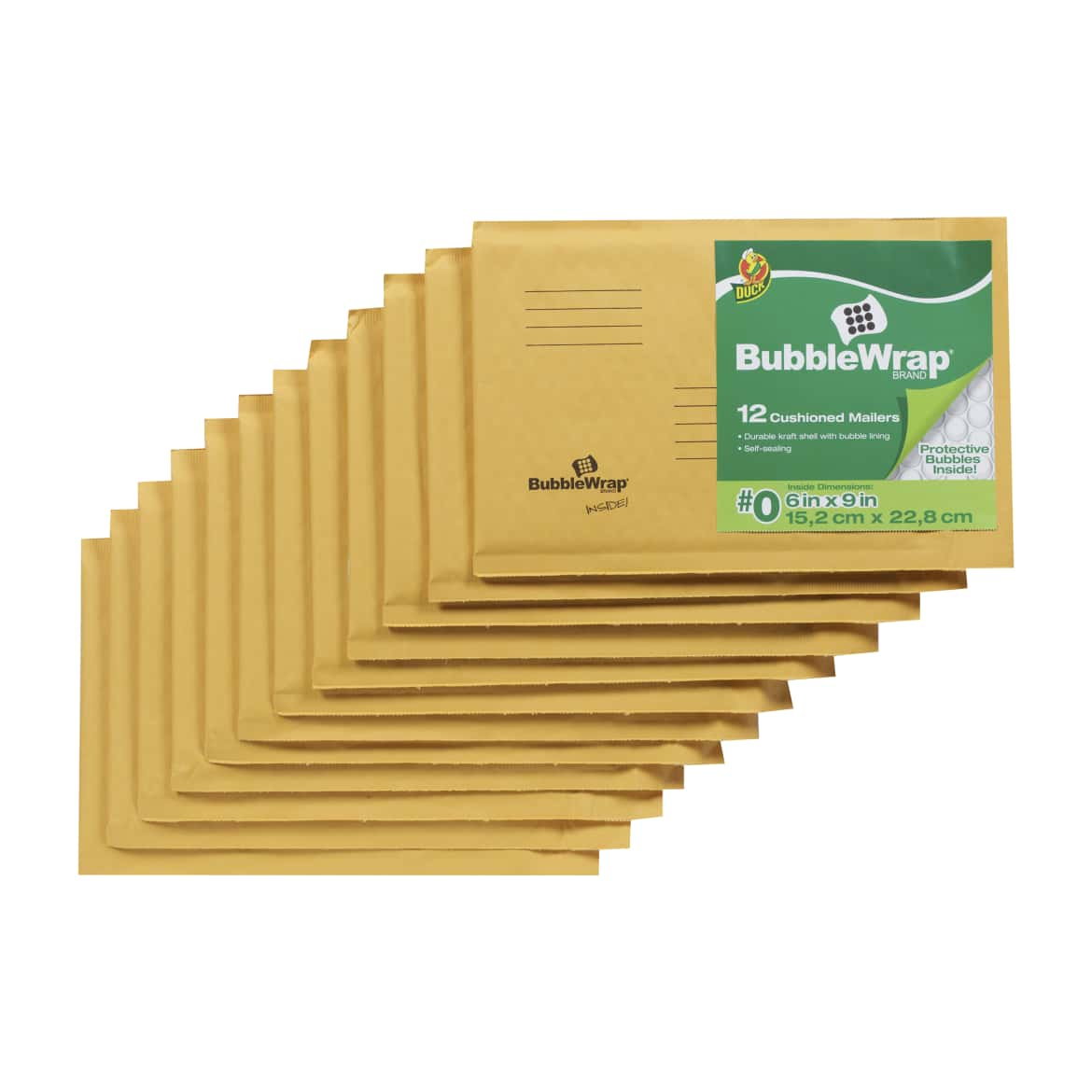 Duck Brand Kraft Bubble Mailers - Manila, 12 pk, 6 in. x 9 in.