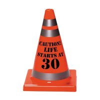 30th Birthday Plastic Cone Decoration (Each) - Party Supplies