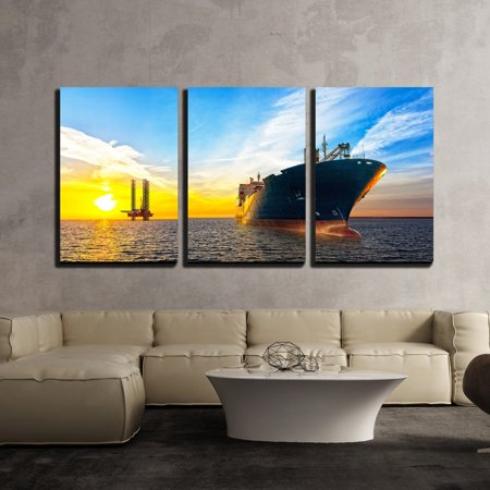 "wall26 - 3 Piece Canvas Wall Art - Tanker Ship and Oil Platform on Offshore Area at Sunset. - Modern Home Decor Stretched and Framed Ready to Hang - 24""x36""x3 Panels"