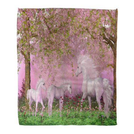 KDAGR Flannel Throw Blanket Spring Unicorns 3D Mother White Frolics Her Two Foals Under Cherry Trees in Full Blossom 58x80 Inch Lightweight Cozy Plush Fluffy Warm Fuzzy Soft (Foal Throw)