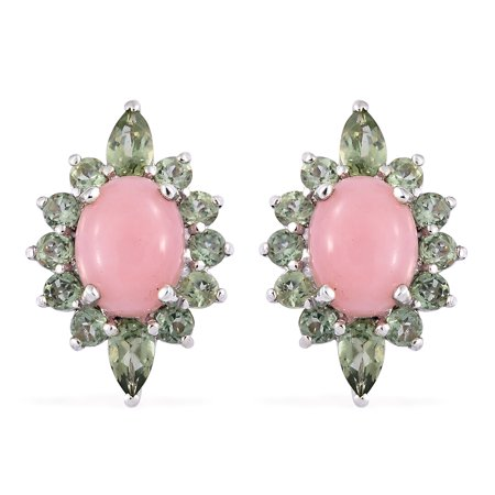Apatite Wire - Pink Opal Green Apatite Stud Solitaire Earrings 925 Sterling Silver Platinum Plated Gift Jewelry for Women