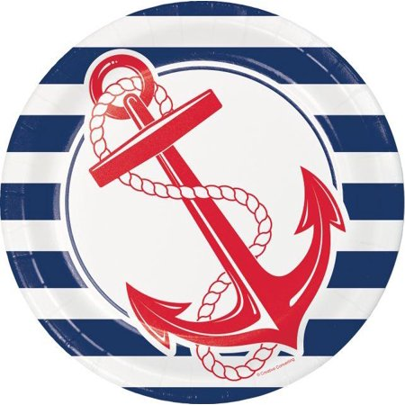 Creative Converting Nautical Anchor Paper Plates, 8 ct (Nautical Paper Plates)