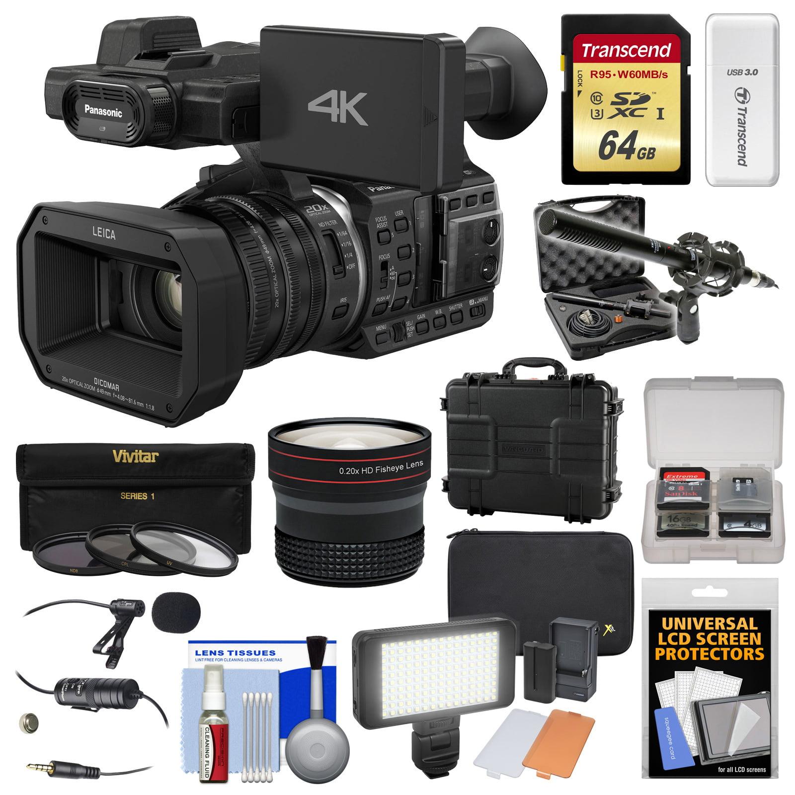 Panasonic HC-X1000 4K Ultra HD Wi-Fi Video Camera Camcorder with Fisheye Lens + 64GB Card + Waterproof Case +... by Panasonic
