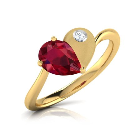 Diamond Vintage Ruby Ring (1 Carat Heart Ruby Engagement Ring, Ruby Engagement Set with Diamond, Ruby Engagement Ring in Yellow Gold, Vintage Style Ring, Engagement )