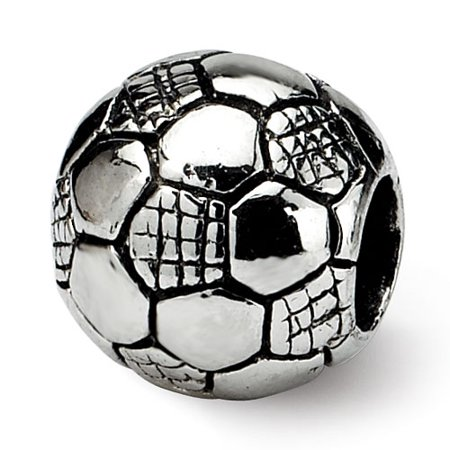 925 Sterling Silver Polished Antique finish Reflections Kids Soccer Ball Bead Charm Birthstone Kid Sterling Silver Charm