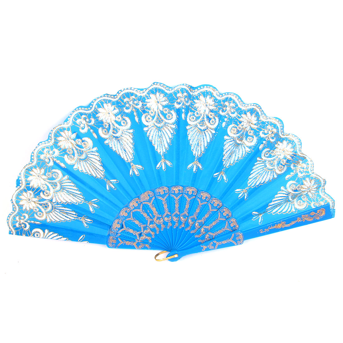 Lady Glittery Powder Decor Floral Printed Wave Edge Foldable Hand Fan Blue