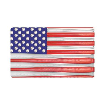 MKHERT US American Flag Made with Baseball Bats and Balls Doormat Rug Home Decor Floor Mat Bath Mat 30x18 inch