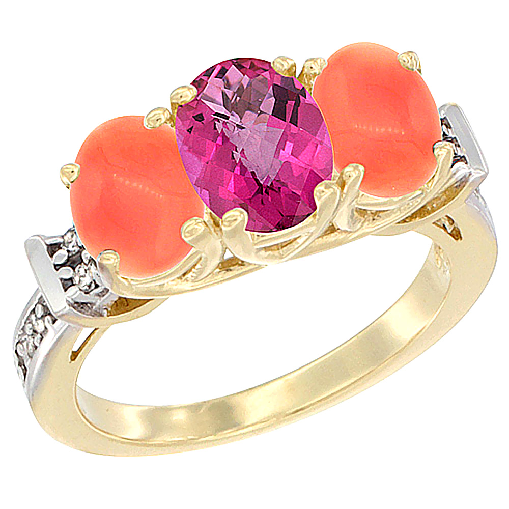 10K Yellow Gold Natural Pink Topaz & Coral Sides Ring 3-Stone Oval Diamond Accent, sizes 5 10 by WorldJewels