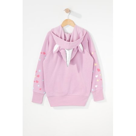 Urban Kids Youth Girls Heart And Star Glitter Unicorn Character Popover Hoodie - image 1 of 3