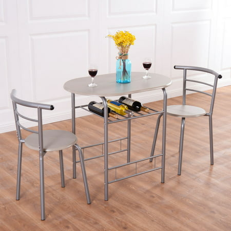 Costway 3 Piece Dining Set Table 2 Chairs Bistro Pub Home Kitchen Breakfast Furniture ()