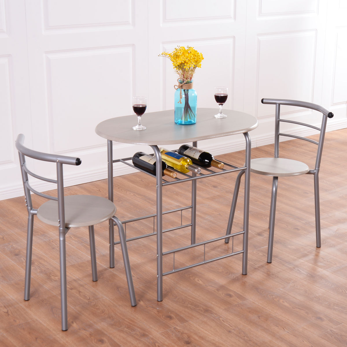 Costway 3 Piece Dining Set Table 2 Chairs Bistro Pub Home Kitchen Breakfast  Furniture