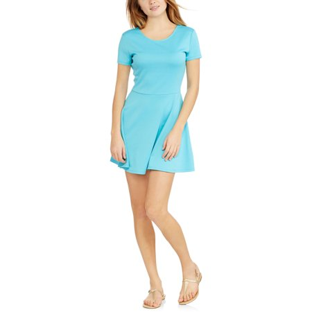 No Boundaries Juniors' Fit & Flare Skater Dress with Open Lace-Up Back