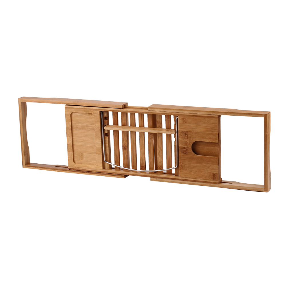Bathtub Rack Bamboo Shelf Bathroom Shower Tub Book Reading Tray Holder
