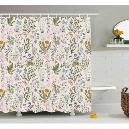 Floral Shower Curtain, Vintage Garden Plants with Herbs Flowers ...