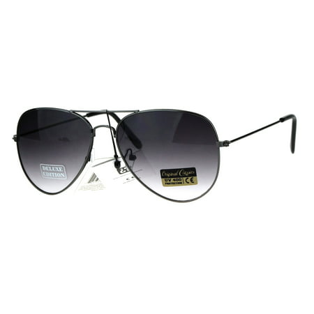 Air Force Mens Metal Wire Rim Gradient Lens Police Aviator Sunglasses Gunmetal Smoke