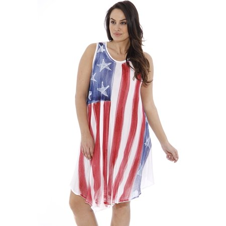 American Flag Dress / Summer Dresses / Swimsuit Cover Up (American Flag  Hand Paint, One Size Plus Size)