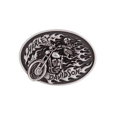 Antique Silver Buckle (Harley-Davidson Men's High on Fire Belt Buckle, Antique Silver Finish HDMBU11418, Harley)