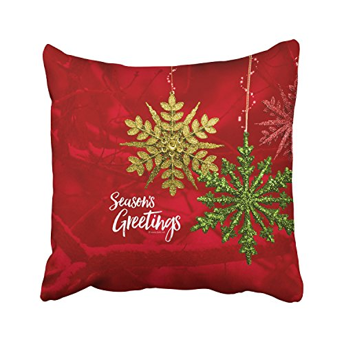 WinHome Christmas New Year Red Yellow Green Shiny Hanging Snowflakes Red Decorative Pillowcases With Hidden Zipper Decor Cushion Covers Two Sides 20x20 inches