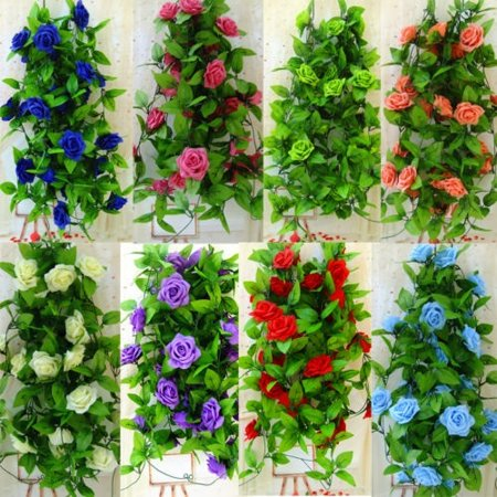 Artificial DIY Rose Flowers Garland Ivy Vine Wedding Favor Home Floral - Felt Flowers Diy