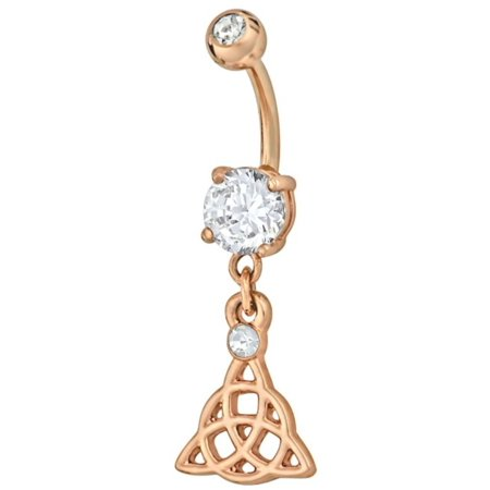 Rose Gold Plated Cz Celtic Trinity Knot Dangle Belly Button Ring