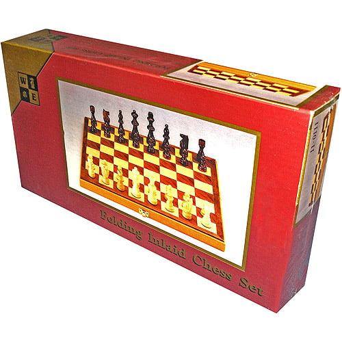 Chess Set with Folding Walnut Board