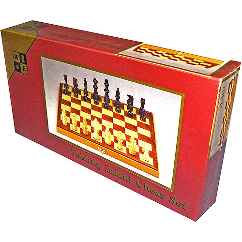 Chess Set with Folding Walnut Board
