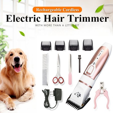 11Pcs Professional 5-Speed Mute Electric Pet Dogs Hair Trimmers Electric Rechargeable Shaver DIY for Pet Cat Hair Clipper Cordless Grooming Trimmer Scissors Cutting Machine - Dog Electric Clippers