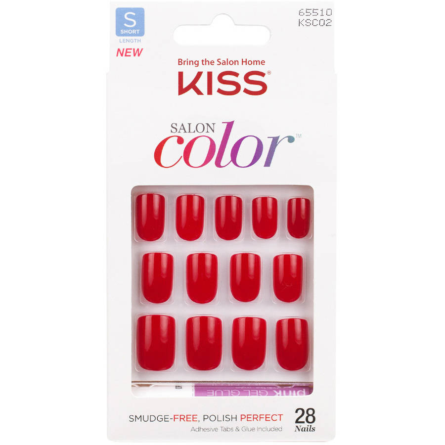 KISS Salon Color Artificial Nails, New Girl, Short Length, 28 count