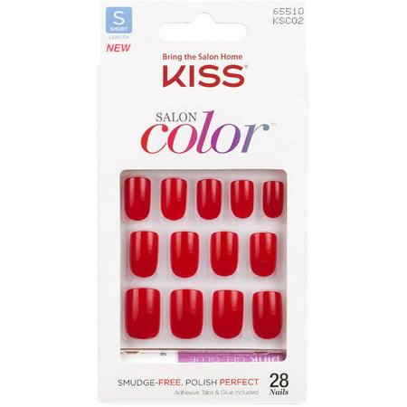 Kiss Salon couleur ongles artificiels, New Girl, courte longueur, 28 count
