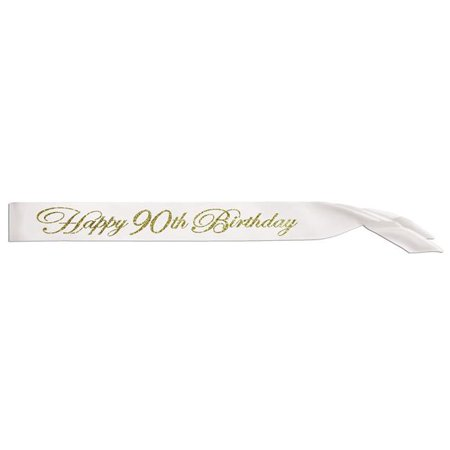 Beistle 60885-90 33 x 4 in. Glittered Happy 90th Birthday Satin Sash - Pack of 6